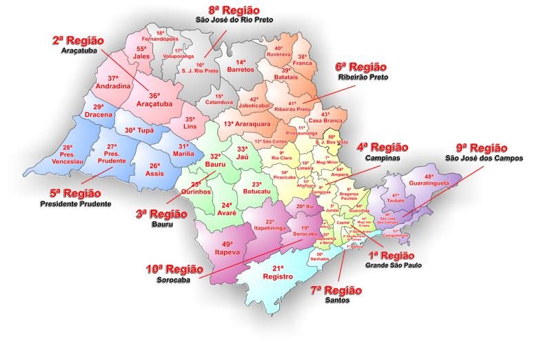 Mapa das Regiões Administrativas Judiciárias